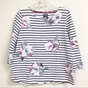 Joules floral striped shirt